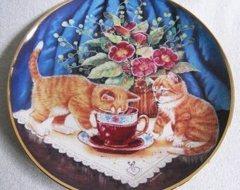 Beautiful collectible-Cats-Franklin mint-Tea for two-K. Duncan-Vintage CAT/cats collector plate
