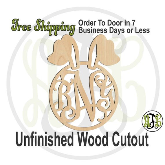 Bunny Ears Monogram- 14003M3- Easter Cutout, 3-Letter, unfinished, wood cutout, wood craft, laser cut wood, wood cut out, wooden sign, Bunny