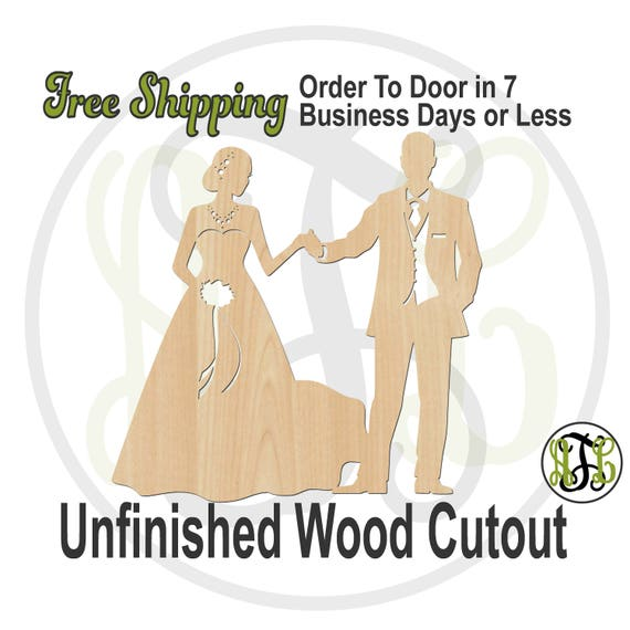 Bride and Groom 3 - 260303- Wedding Cutout, unfinished, wood cutout, wood craft, laser cut, wood cut out, Door Hanger, wooden sign, party