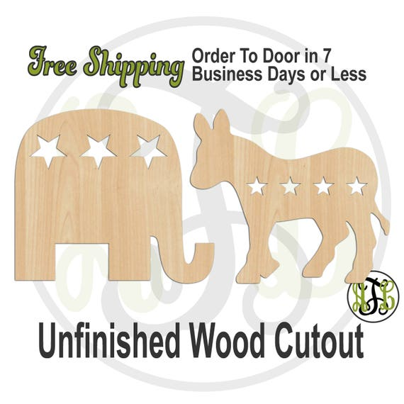 Republican Elephant or Democrat Donkey- 150006-07- Political Cutout, unfinished, wood cutout, laser cut, wood cut out, Door Hanger, wooden