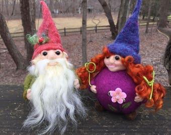 Gnome couple- felted- Pink Jackalope Studio Design