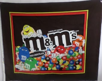 Sew M  M Brown multicolor fabric panel to make a quilt or wallhanging  with all your favorite m&ms candies