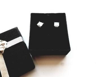 Vintage Silver CZ Pierced Earrings in Original Box