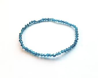 Swarvoski Tiny Aqua Blue Crystal Glass Beads Stretch Bracelet, Wedding, Bride Handmade, stacking