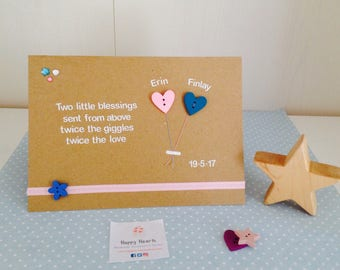 Handmade Personalised New Baby Twin Card - Twin Baby Cards - Personalised Baby Cards
