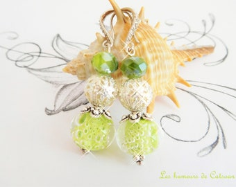 Earrings anise green with Lampwork beads and glass beads / gift women / bead/gift unique handmade