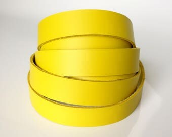 Latigo Leather Strip-96 inches length-Yellow-Belts-Dog Collars-Hat Bands-Purse Straps-Choose your width at -6-7 oz. (2.4-2.8 mm)