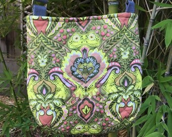 Quilted Mini Trail Tote in Tula Pink Prince Charming Fabric OOAK