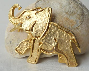 Vintage Gold Elephant Pin-Brooch, Hammered Statement Elephant Brooch, Gold Tone  Lucky Elephant Pin, Elephant Jewelry, Oversized Elephant