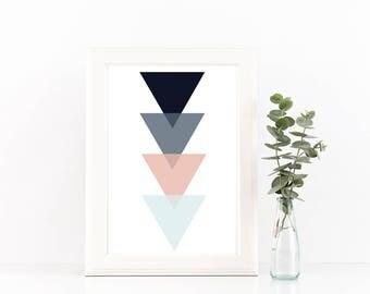 Triangle Print / Navy Blue Print / Pink Print / Geometric Print / Modern Wall Print