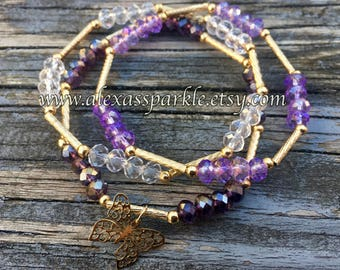 Set of three crystal bead bracelets-purple-amethyst purple color-cristal colors