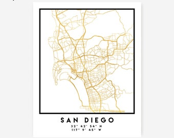 San Diego Map Coordinates Print - California City Street Map Art Poster, Gold San Diego Map Print, San Diego California Coordinates Poster