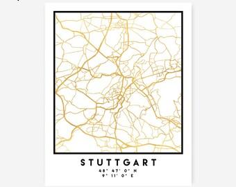 Stuttgart Map Coordinates Print - Germany City Street Map Art Poster, Gold Stuttgart Map Print, Stuttgart Germany Coordinates Poster Map Art