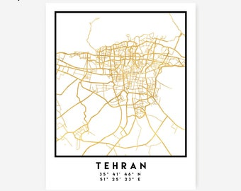 Tehran Map Coordinates Print - Iran City Street Map Art Poster, Gold Tehran Map Print, Tehran Iran Coordinates Persian Poster Map Print Art