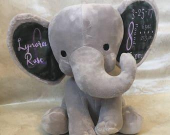 Birth announcement stuffed Elephant Plush Keepsake