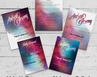 Midnight Romance - Print Your Own Wedding Stationery and Invitation Set
