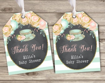Gift tags Tea Baby Shower party favor Bridal Baby Tea Floral Thank You Tags TT0544