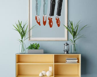 Poster | Illustrated Poster | Wall Decor | Minimal Print Poster | Home Decor | Poster Design | Postcard | Hipster | Shoes |  Foot