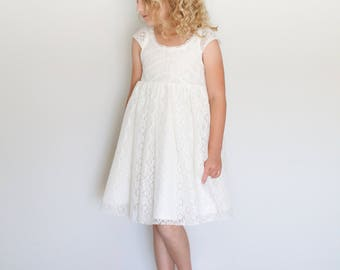 Girls Lace Dress: flower girl dress. into the woods