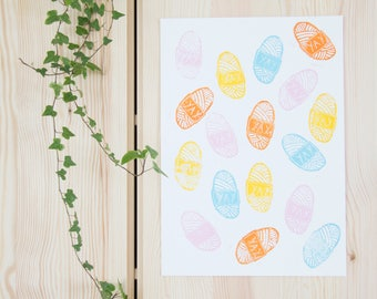 A3 Handprinted illustration | Yay wool