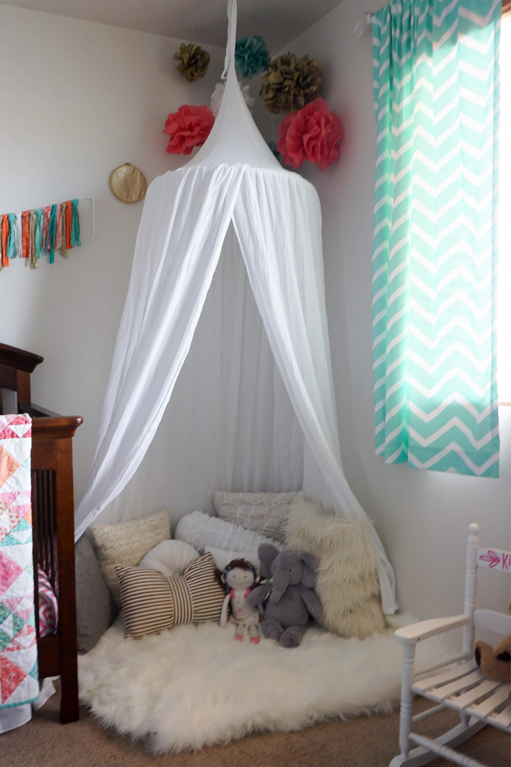 Play canopy in white cotton/ hanging tent/ reading nook canopy/hanging canopy : hanging play canopy - memphite.com