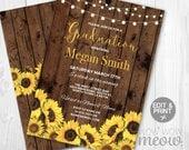 Graduation Party Sunflower Invitation Invite INSTANT DOWNLOAD Girl's College University Chalk Floral Digital Party Invite Editable Printable