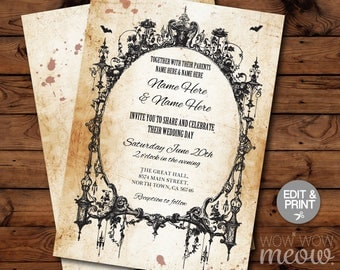 Halloween Wedding Invitations Party Rehearsal Dinner Coupleu0027s Shower Rustic  Invite Printable INSTANT DOWNLOAD Scray Personalize Editable