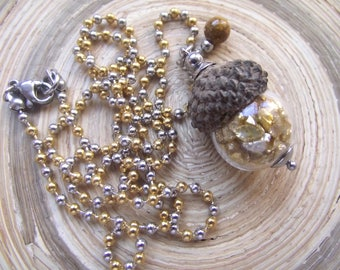 Long Necklace acorn Glass hollow bead Stainless Steel bicolor silver/gold