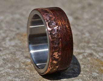 Hammred copper and mahogany wood titanium ring