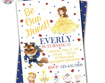 Beauty and the Beast Invitations, Beauty and the Beast Birthday, Beauty and the Beast Party, Beauty and the Beast Invites, Belle Invitation