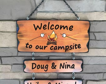 Camping Sign fire and mashmellows