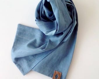 Cotton Mens Scarf, Light Blue Summer Scarf, Classic Men's Scarf, Scarf for Men, Gift for Him, Graduation Gift Him, Light Blue Wedding