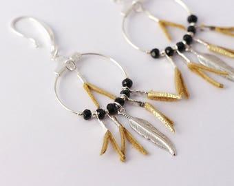 "Earrings ""kwanita"" Golden, black, silver glass crystals"