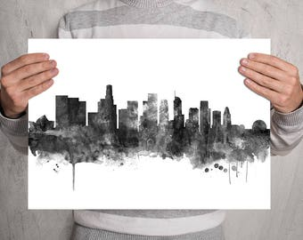 Los Angeles Print Skyline Watercolor Painting, Los Angeles California Poster Gift Home Decor, Los Angeles Wall Art Black and White (A0553)