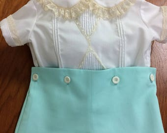 Diamond Pintuck Shirt with Button-on or Pull-Up Shorts in Seafoam
