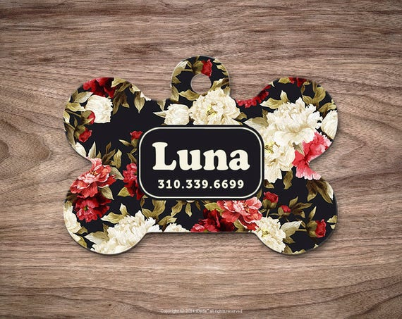 Floral Pet id Tag Pet Tags Cat ID Tag Pet ID Cat Dog Tag Pet id Tag Pet Gift Pet Tags Dog Tag for Dogs Dog id Tag Custom Pet id Tag Floral
