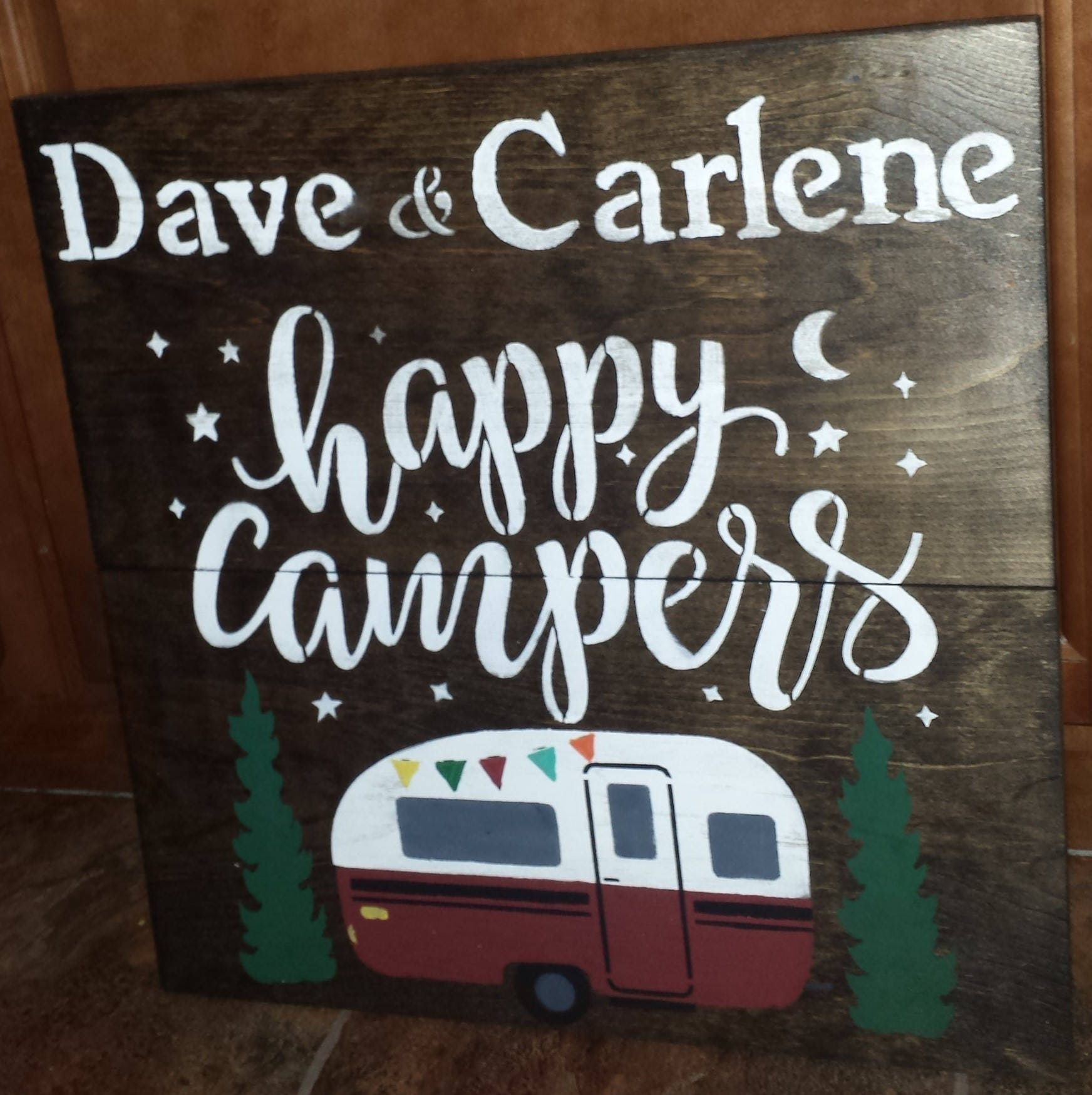 PERSONALIZED HAPPY Campers Sign VALENTINE Gift Trailer Name Camping Signs