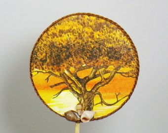 Decorative spike Giraffe and the trees of the Savannah in shades of Orange