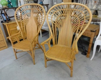 Pair of Rattan High Fan Back Chairs