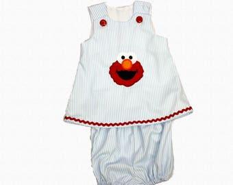 Girl Elmo dress toddler Aline Elmo dress Baby Birthday dress girl aline dress toddler dress birthday applique name dress baby dress