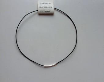 Handmade leather necklace with bead,  HANDMADE