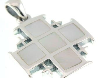 Jerusalem Cross Mother of Pearl Pendant + Sterling Silver 925 Neck Chain