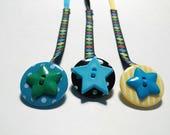 Pacifier clip / buttons & colorful Plaid Ribbon