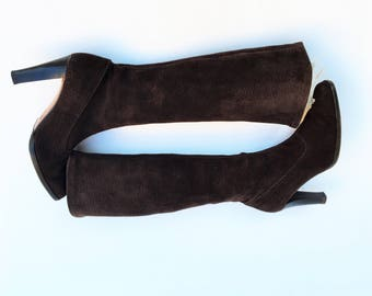 Rossetti heeled suede boots / Brown heeled suede boots / Made in Italy suede boots  /Fratelli Rossetti New Boots /New Boots size UK 4, USA 6