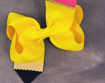 "Pencil hair bow / 4"" hair bow / boutique hair bow / back to school hair bow / hair bow"