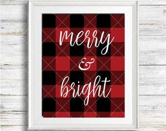 merry & bright printable - merry bright - Christmas printable - Xmas Printable