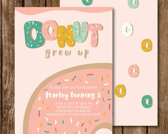 DONUT GROW UP Birthday Party Invitation