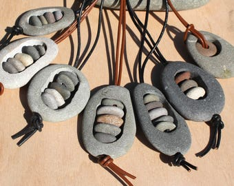 rock necklace zen necklace buddhist stone stack spiritual stacked stones natural stone necklace cairn necklace drilled beach stone leather