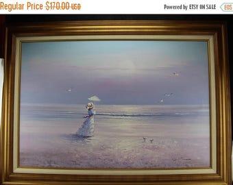 "Summer Original Oil Painting Seascape Beach Victorian Woman  44"" x 32"" Framed Signed Walton"