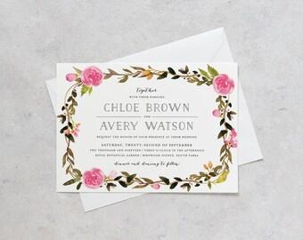 Printable Wedding Invitation Set, Pink Peonies Flower Wedding Invitation Set, Pink Rose Flower Botanical Watercolor Wedding invitation Set
